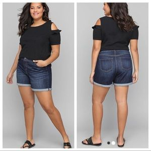 Lane Bryant Dark Wash Girlfriend Denim Shorts